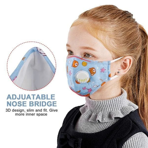 Kids Cotton PM2.5 Anti-smog Anti-Dust Smoke Gas and Allergies Adjustable and Reusable N95 Masks Activated Carbon Mask Protection with 10