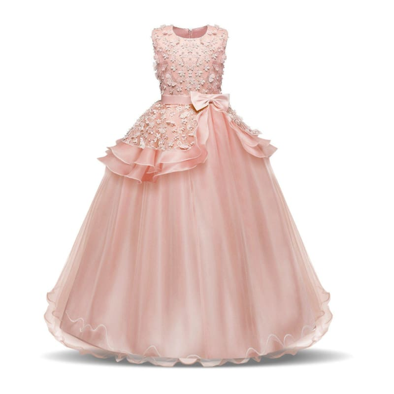 Kids Girls Dresses Party Embroidery Floral Wedding Bridesmaid Prom Pageant Gown
