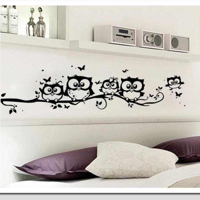 Removable Art Vinyl Quote Decal Cartoon Owl Butterfly  Room Decor Wall Sticker