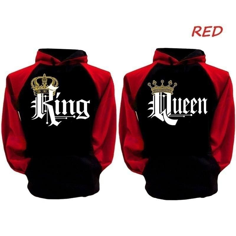 King and Queen Hoodies Valentine New Muti Colors Matching Cute Lovers Clothes Women Hoodies Men Hoodies Tops