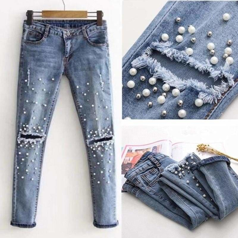 New Women/'s Ripped Knee Ladies Denim Blue Jeans Bottom 2 Button Stretchy Pants