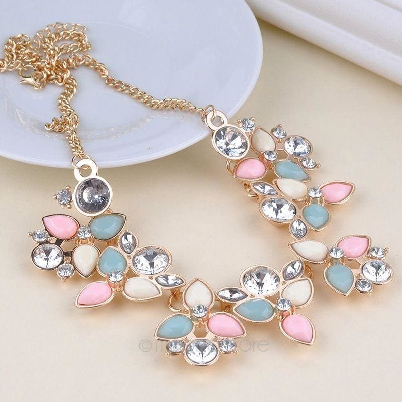 1PC Lady Crystal Pearl Lace Flower Bib Choker Chunky Statement Collar Necklace
