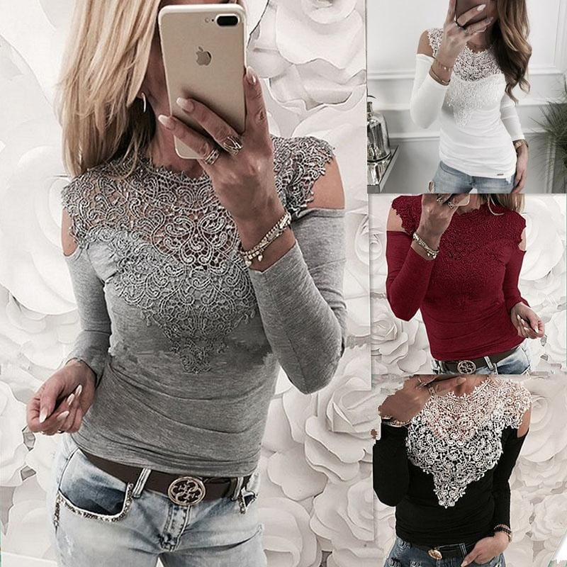 Lace T Shirts Fashion Women Sexy Long Sleeve Off the Shoulder Tops Lace Patchwork T-shirt