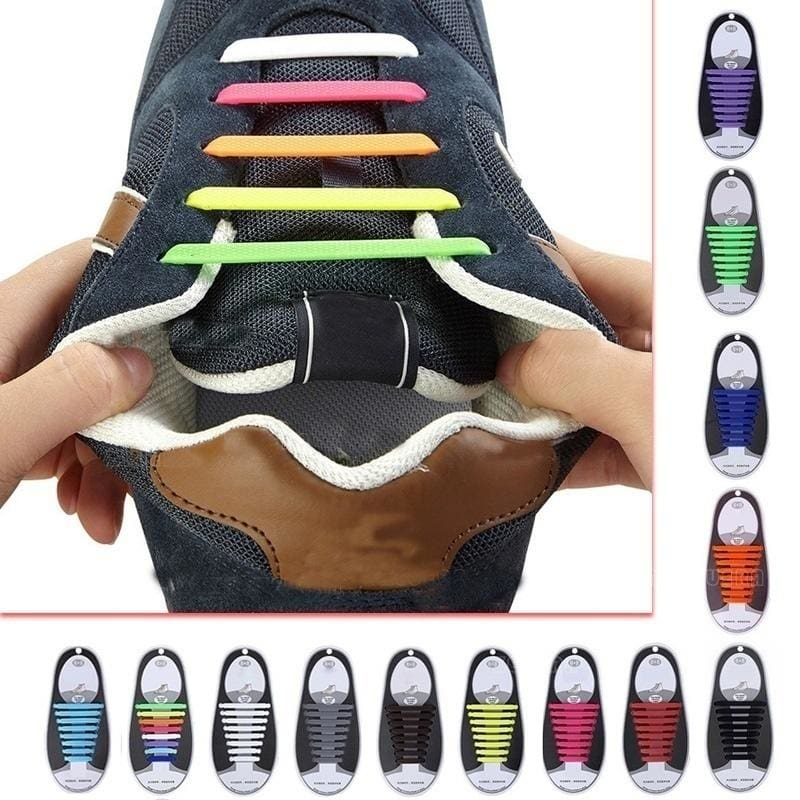 Fashion Elastic Silicone No Tie /'Lazy/' Shoe Laces Shoelaces Men Ladies Trainers