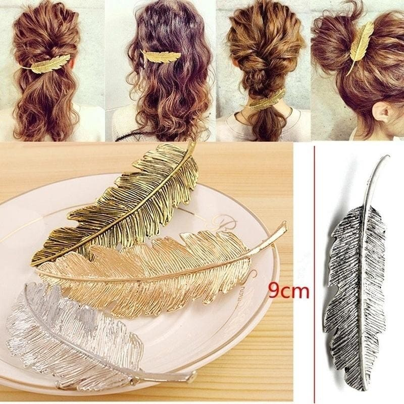 Retro Women Gold//Silver Leaf Feather Hair Clip Clamp Hairpin Barrette Bobby Pins