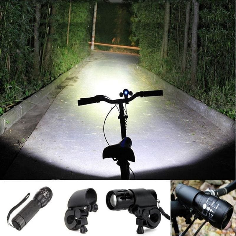 New Blue Head Cycling Bike Bicycle Front Light LED Lamp Flashlight Torch Clip