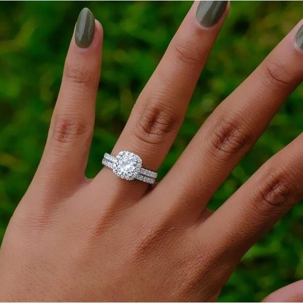 925 Silver Filled White Sapphire  Birthstone Engagement Wedding Heart Ring Gift