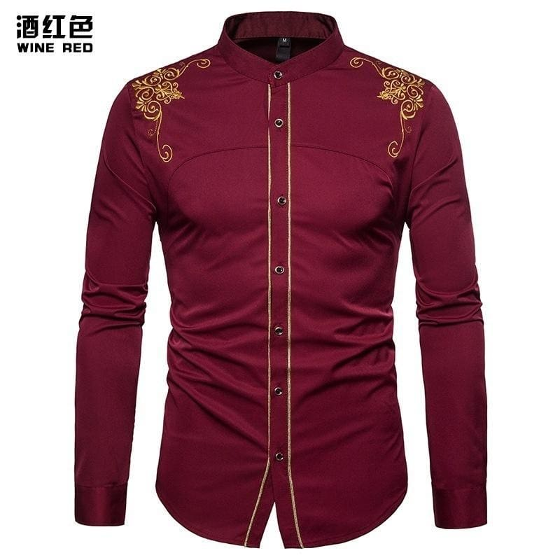 Mens Fashion Floral Long Sleeve Shirt Slim Fit Casual Youth Party Tops Blouse SZ