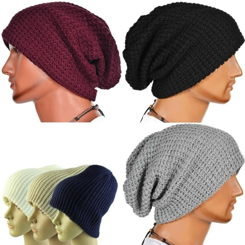 Mens or Womens Oversized Beanies Winter Knit Slouch Beanie New Knitted Wooly Hat