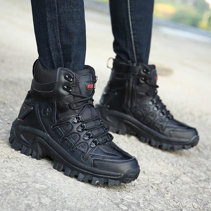 Mens Lace Up Military Work Desert Combat Ankle Boots Outdoor Black Shoes Fashion
