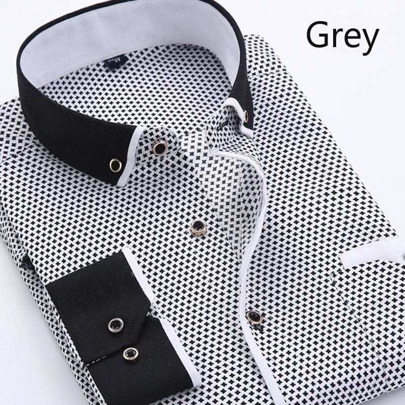YYear Mens Print Button Down Long Sleeve Business Casual Dress Shirts