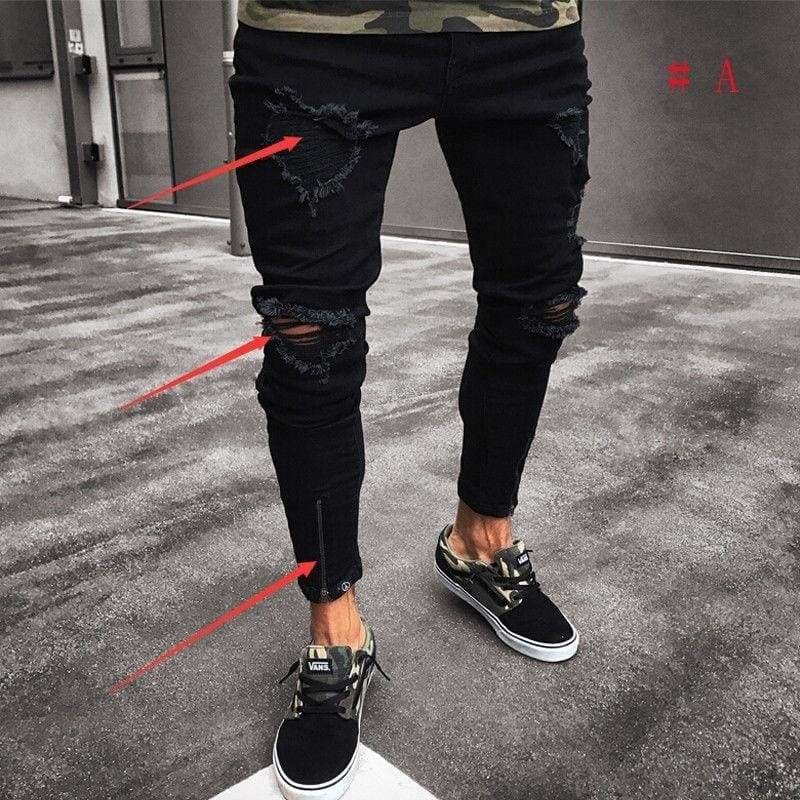 Men Distressed Ripped Jeans Gray Slim Fit Denim Charcoal All