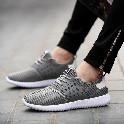 Mens Breathable Shoes Fashion Sports Sneakers - 6.5 / Black