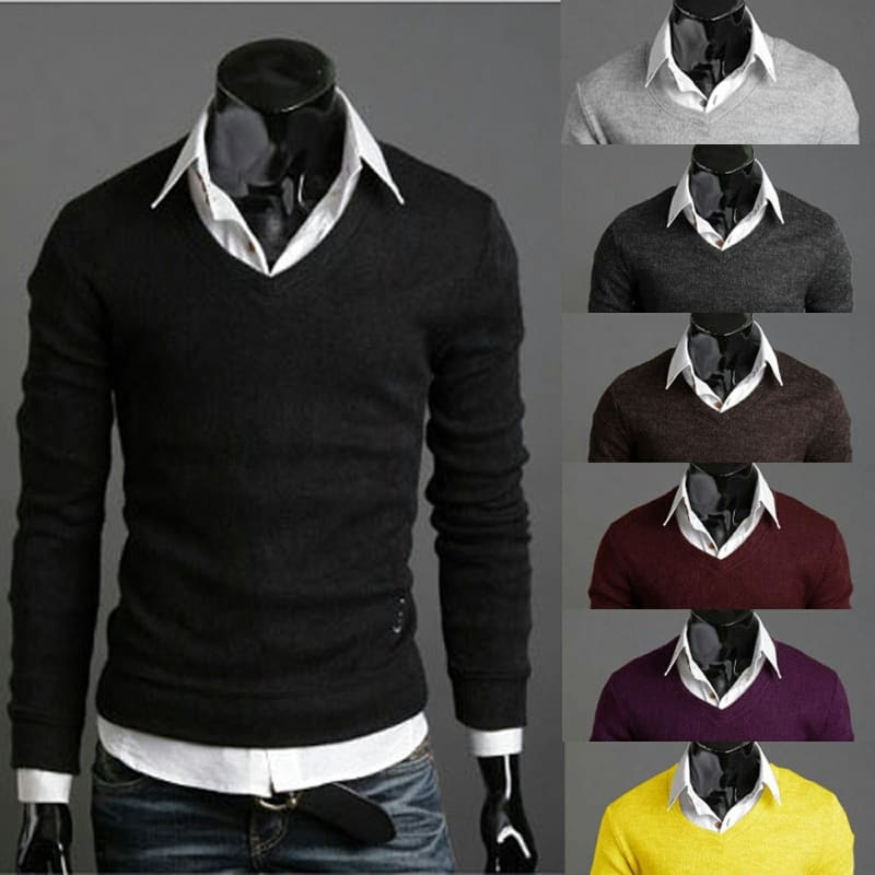 Men/'s Knitted Turtle Neck Pullover Sweater Jumper Casual Slim Knitting Tops Chic