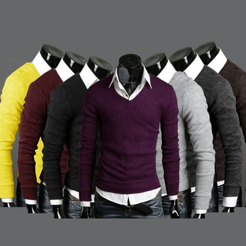Mens Casual Stylish Slim Fit V-neck Knited Sweater Jumper Tops Cardigan knit Shirts