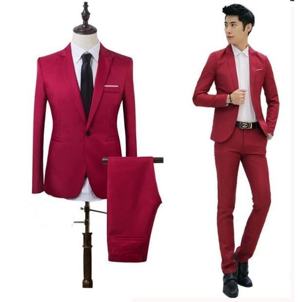 Mens Fashion The High Quality 2018 Business and Leisure Suit A Two-piece Suit 8 Colors (jackets+pants)