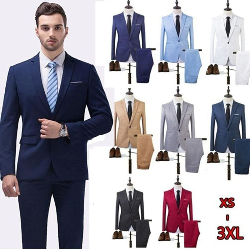Mens Fashion The High Quality 2018 Business and Leisure Suit A Two-piece Suit 8 Colors (jackets+pants) - M / White
