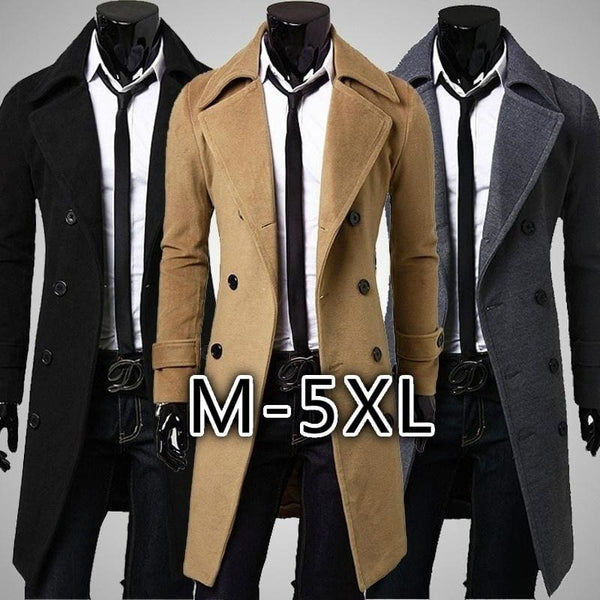 Mens Trench Coat Winter Long Jacket Double Breasted Overcoat M-5XL