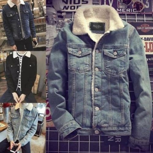 Mens Western Vintage Fleece Jacket Fur Lining Coat Jean Denim Fashion Tops