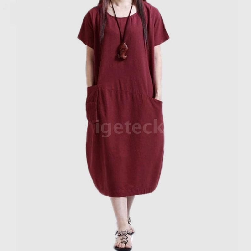 Womens One Shoulder Long Sleeve Long Maxi Dress Pleated Loose Baggy Party Dress