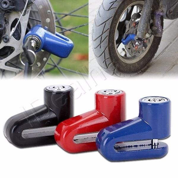 Anti-theft Security Disc Brake Wheel Lock for Motorcycle MotorBike Bicycle Blue
