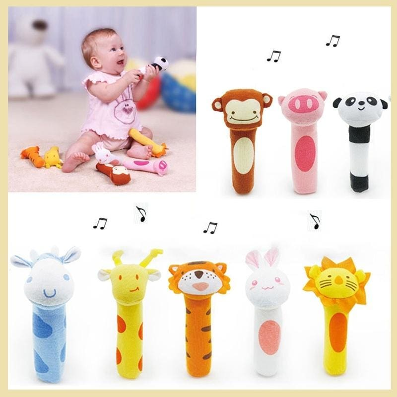 Newborn Baby Plush Wristband Rattles Soft Adjustable Cartoon Bed Bell Toys Gifts