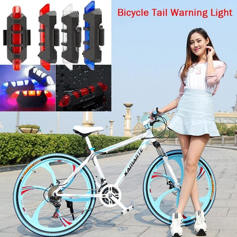 5LED USB Rechargeable Bike Bicycle Light Rear Back Safety Tail Light Blue New