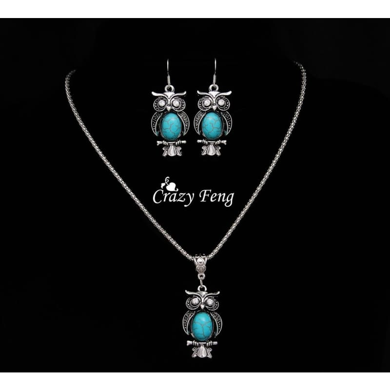 Fashion Women Turquoise Crystal Tibetan Silver Chain Necklace Pendant Jewelry