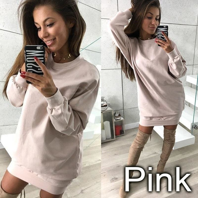 New Fashion Autumn and Winter Women Long Sleeved Dresses Casual Sweatshirt Skirts Hooded Dress LWU