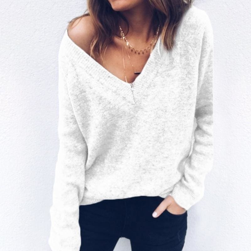 Women Slim-fit V Neck Long-sleeved Knitted Tops Sweater Jumper Autumn Casual Top