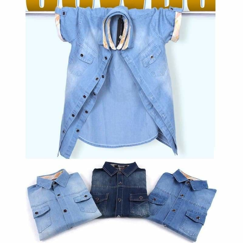 New Fashion Men/'s Jeans Casual Slim Fit Stylish Wash-Vintage Denim Shirts