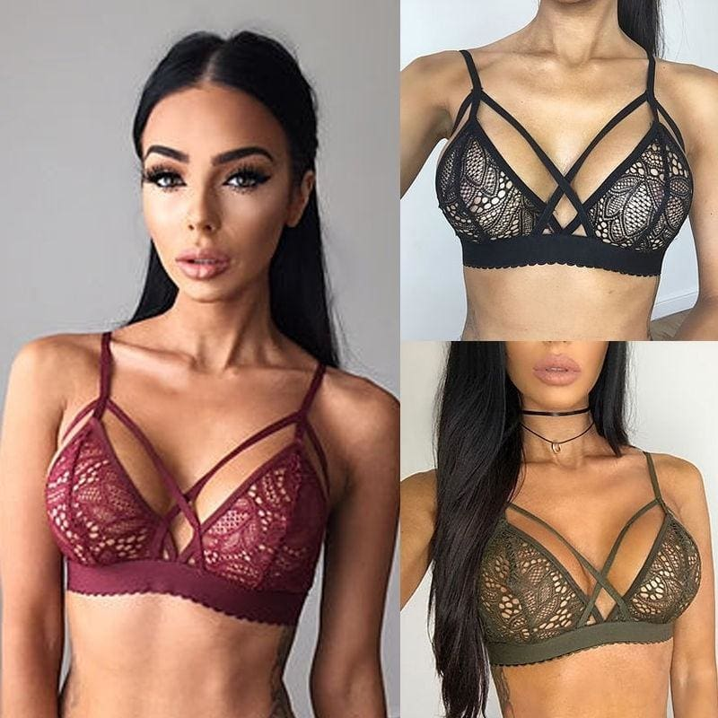 New Floral Sheer Lace Triangle Bralette Bra Crop Top Bustier Unpadded Mesh Lined