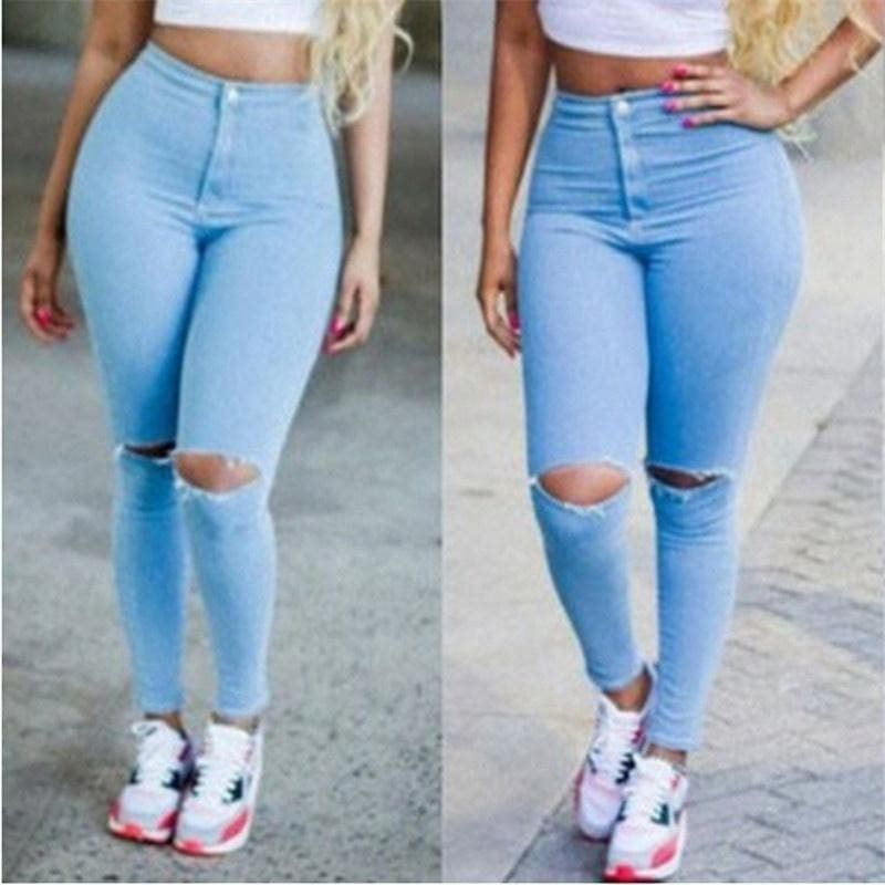 Women Skinny Ripped Holes Jeans High Waist Stretch Slim Pencil Trousers Pants ////