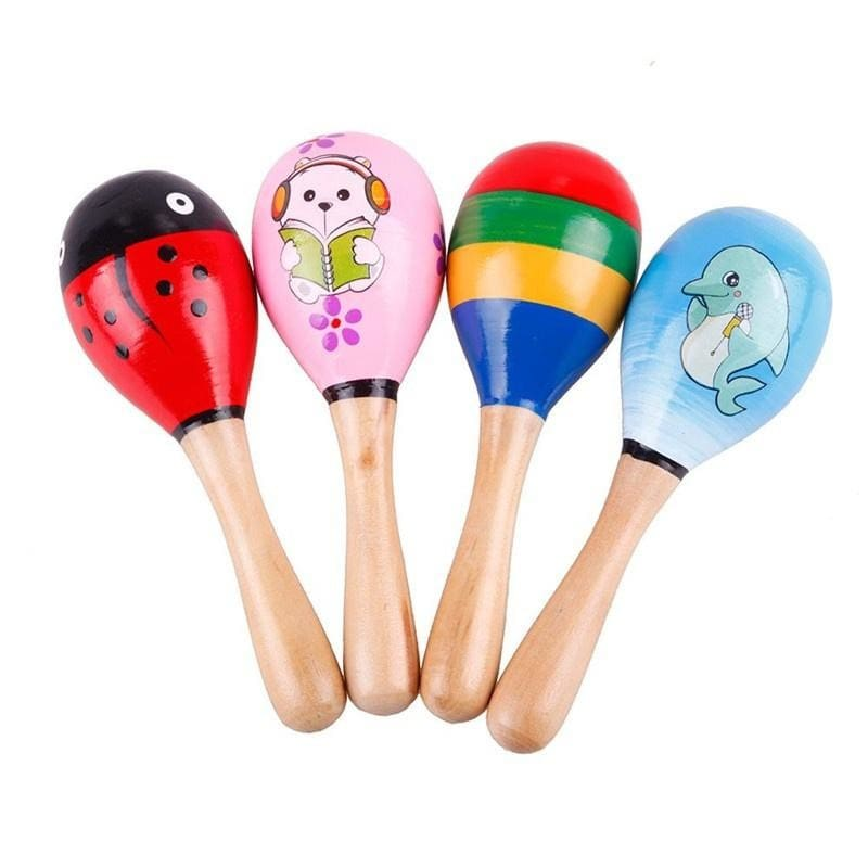 1 PCS Wooden Maraca Wood Rattles Kids Musical Party favor Child Baby shaker Toy