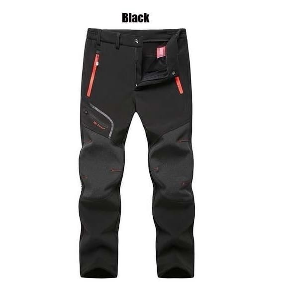 New Mens Winter Outdoor Waterproof Hiking Trousers Camping Climbing Fishing Skiing Trekking Softshell Fleece Warm Pants - size-S / black