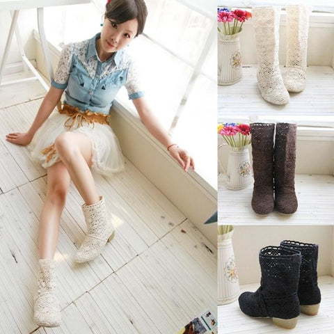 New Shoes Lace Openwork Crochet Boots Plus Size Hollow Fashion Women Boots