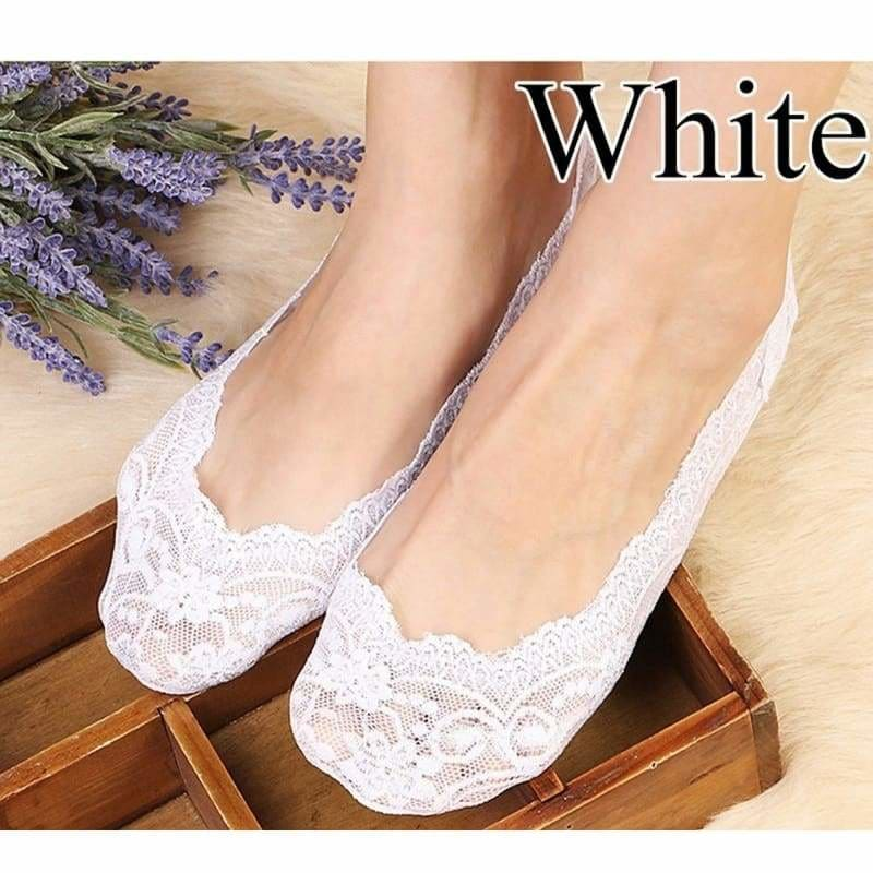 New Pretty Lace Boat Liner Low Cut Socks Women Invisible No Show Nonslip Loafer