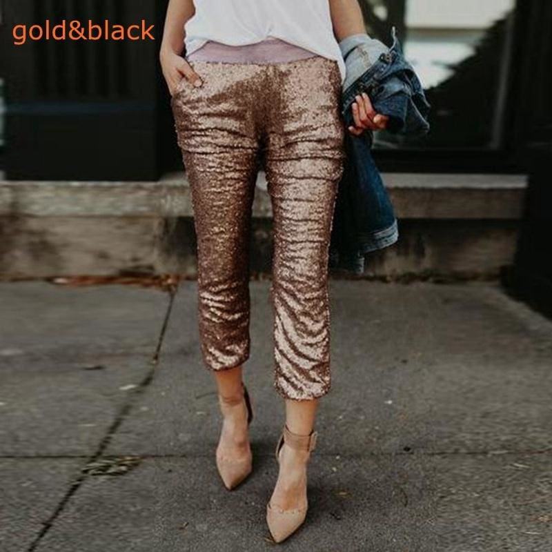 NEW Women Fashion Bling Bling Sequin Casual Contrast Color Slim Pencil Pants Trousers