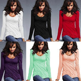 Newest Autumn Womens Fashion Sexy O-neck Long Sleeve T-shirt Casual Tops Plus Size (S-3XL)