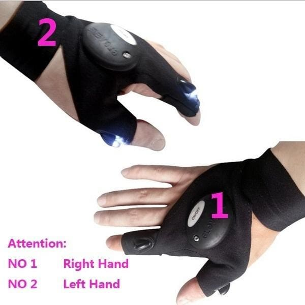 Finger Glove with LED Light Waterproof Rescue Tools Outdoor Gear Night Fishing