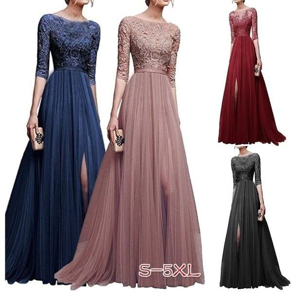 O Neck Elegant Long Sleeve Elegant Lace Long Dress Women A Line Tulle Party Prom Long Dress