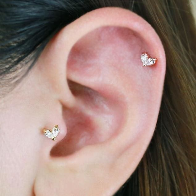 Pink CZ Crescent Moon Tragus Earring 18G Surgical Steel Helix Earrings