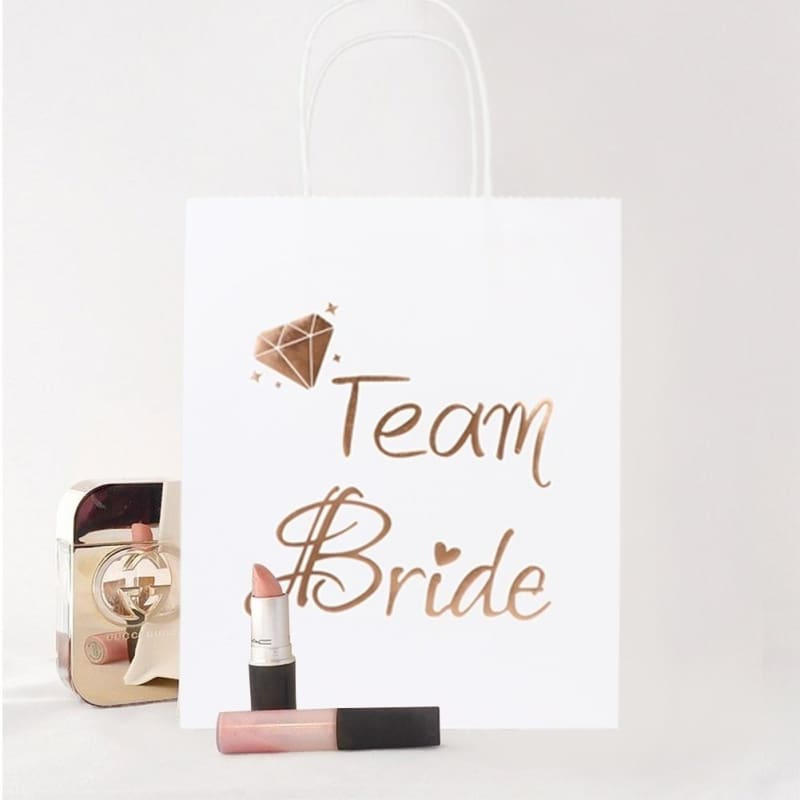 Ivory Crystal Wedding Favour Tote Bags personalised bride bridesmaid hen gift