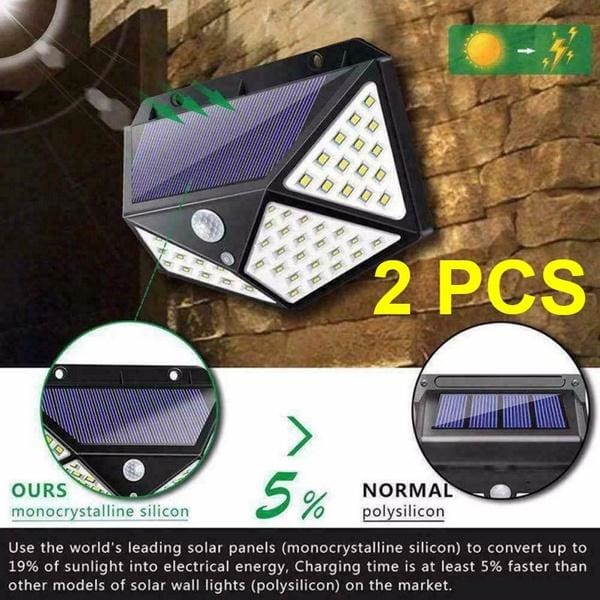2pcs 100 LED Solar Power Wall Light Motion Sensor Waterproof Outdoor Garden Lamp