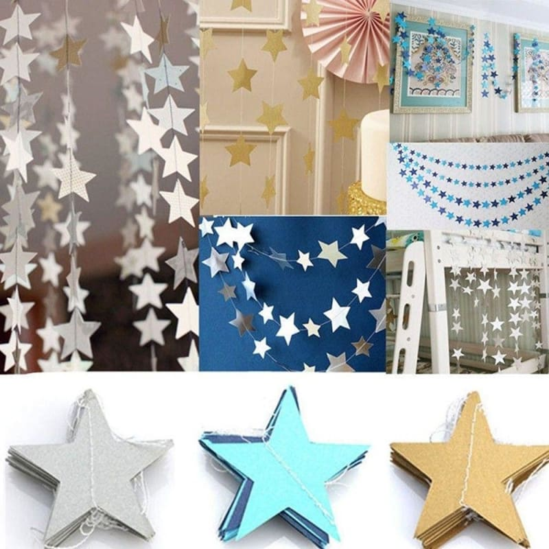2M//4M Paper Star Garland Bunting Banner Party Wedding Baby Shower Decoration