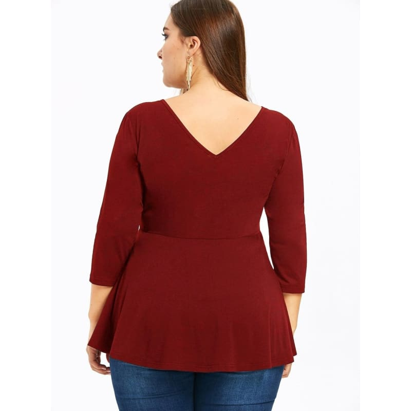 Plus Size Cutout Peplum Top