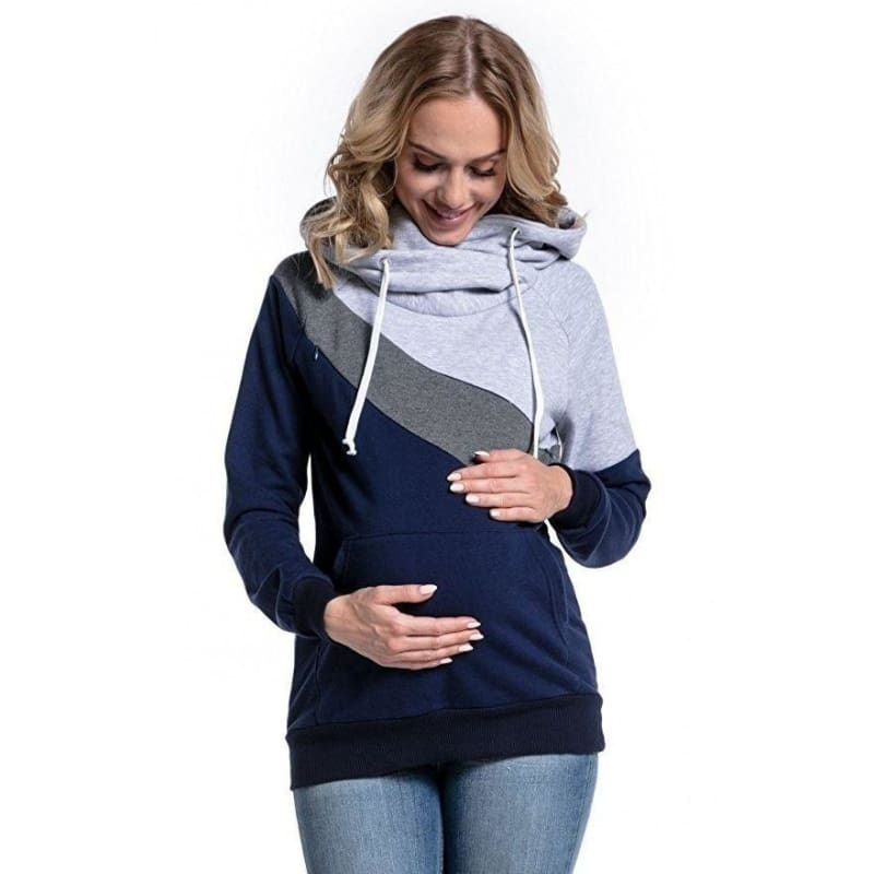 Plus Size Pregnancy Nursing Long Sleeves Maternity Clothes Hooded  Breastfeeding Tops Patchwork Pregnant Women Hoodie