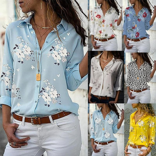 Plus Size S-5XL Women Casual Long Sleeve Shirts Flower Printed Deep V-neck Ladies Fashion Loose T-shirt Office Wear Chiffon Blouse