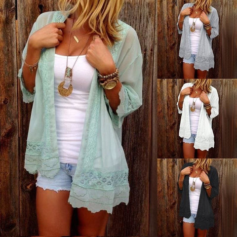 Plus Size Women Fashion Loose Fit Cardigan Sexy Open Front Coat Summer Chiffon Cardigan Lace Cardigan - S / Green