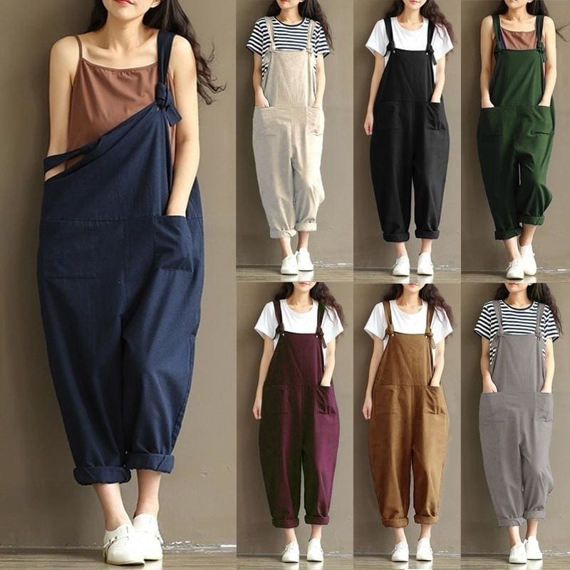 Mens Womens Casual Cotton Jumpsuits Overalls Cargo Pants Rompers Loose Trousers